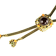 Selro Burgundy Domed Cabochon Bolo Necklace