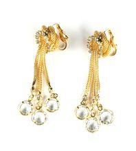 Vintage Crystal Rhinestone Dangles Long Earrings