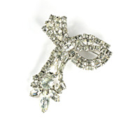 Crystal Rhinestone Swirling Ribbon Brooch