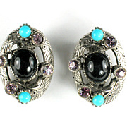 Selro Black Rhinestone Vintage Earrings
