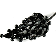 DeLizza and Elster Juliana Black Rhinestone Large Leaf Brooch