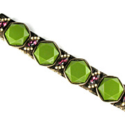 Olive Green Amethyst Rhinestone Faux Pearl Bracelet