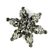 Gray Crystal Rhinestone Six Pointed Star Brooch