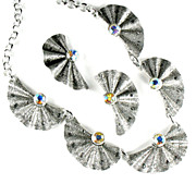 Eloxal Aluminum AB Rhinestone Pleated Fan Necklace and Earrings