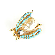 Florenza Faux Pearl Turquoise Rhinestone Insect Trembler Pin - Red Tag Sale Item