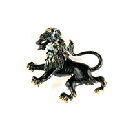 Florenza Black Enamel Rampant Lion Brooch