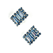 Light Blue Rhinestones Vintage Earrings