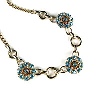 Barclay Blue Rhinestone Flower Motif Necklace