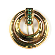 Coro Green Rhinestone Circles Clip