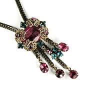 Aqua and Rose Rhinestone Chain Dangles Necklace