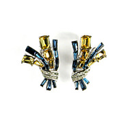 Trifari Blue Topaz Rhinestones Vintage Earrings