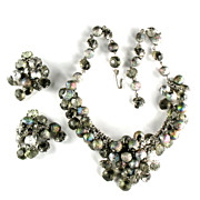 Glitter Bead Necklace and Earrings Vintage Set
