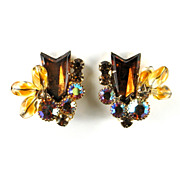DeLizza and Elster Juliana Topaz Rhinestone Arrow Bead Earrings