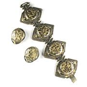 Black Gold Glitter Confetti Disk Bracelet and Earrings