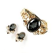 Etched Rose Hematite Rhinestone Bracelet and Earrings