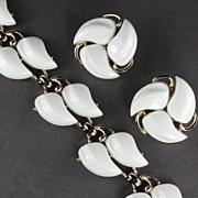 Claudette White Swirl Bracelet and Earrings