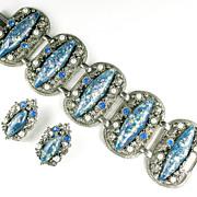 Blue Confetti Cabochon Bracelet and Earrings by Selro