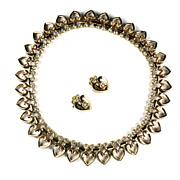 Trifari Crystal Rhinestone Hearts Necklace and Earrings