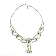Crystal Rhinestone Baguettes Squares Dangles Necklace