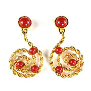 Avon Carnelian Red Dangle Earrings