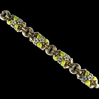 Trifari Enamel Rhinestone Flower Leaves Vintage Bracelet