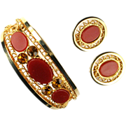 Carnelian Red Cabochon Rhinestone Filigree Bracelet and Earrings