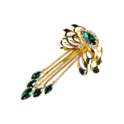Kramer Green Crystal Rhinestone Dangle Brooch