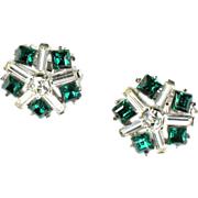 Trifari Green Crystal Rhinestone Earrings