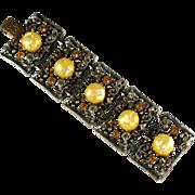 Lemon Yellow Confetti Cabochon Bracelet by Selro