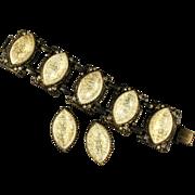 Cream Glitter Cabochon Bracelet and Earrings by Selro