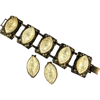 Cream Glitter Cabochons Vintage Bracelet and Earrings by Selro