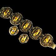 Deep Yellow Swirl Cabochon Bracelet and Earrings by Selro