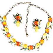 Selro Orange Yellow Green Cabochon Necklace and Earrings