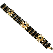 Weiss Black Rhinestone Flower Bracelet