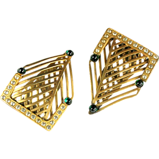 Art Deco Woven Green Cabochon Pair of Dress Clips