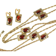 Emmons Topaz Glass Filigree Necklace and Earrings