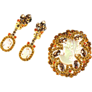 DeLizza and Elster Juliana Topaz Rhinestone Cameo Brooch and Earrings