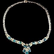 Bogoff Aqua and Crystal Rhinestone Necklace