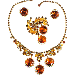 Vintage Juliana Topaz Rhinestone Necklace, Brooch and Earrings Set by DeLizza and Elster