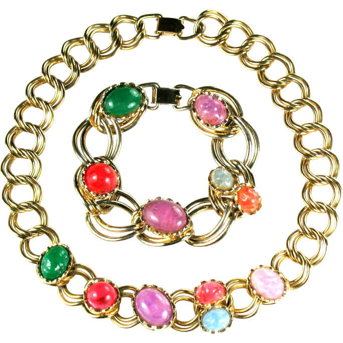Coro Colorful Necklace Bracelet Vintage Set