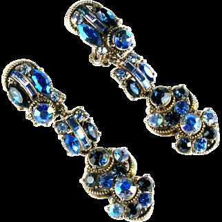 Hollycraft Blue Vintage Earrings