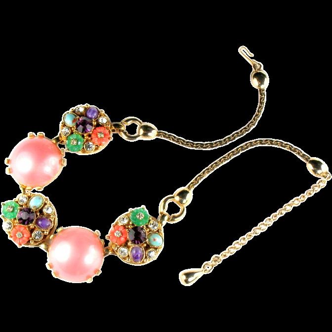 Selro Pink Cabochon Rhinestone Flowers Necklace