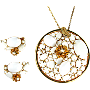 Vintage Caviness White Cabochon Rhinestones Pendant Necklace and Earrings