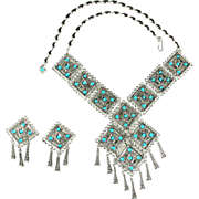 Turquoise Colored Southwestern Style Necklace and Earrings Vintage Set