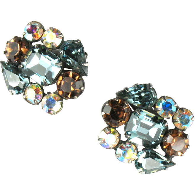Weiss Blue Topaz AB Rhinestone Earrings