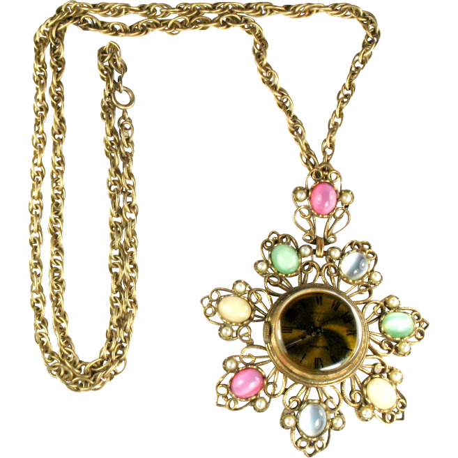 Vendome Pendant Watch Vintage Necklace