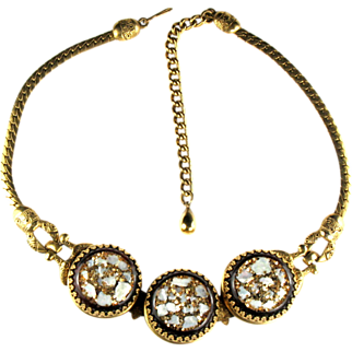 Selro Black Confetti Disk Necklace