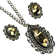 Large Black Glitter Confetti Pendant Necklace and Earrings