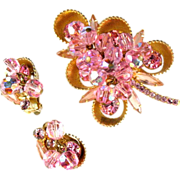 DeLizza and Elster Juliana Pink Rhinestone Bead Brooch and Earrings