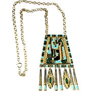 Egyptian Motif Enameled Pendant Necklace